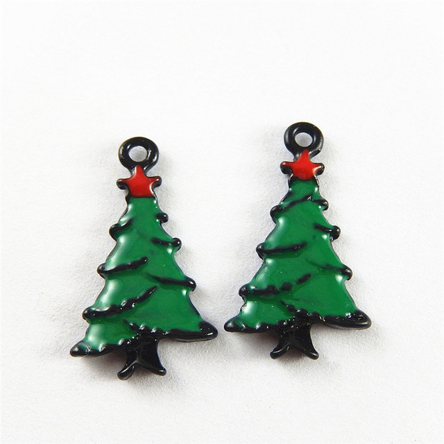 5pcs Alloy Made Colorful Green Christmas Tree Charms Pendant Enamel