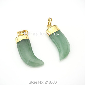 H-SP56 Healing Crystal Aventurine Horn Tusk Pendant Edged in Gold or Silver