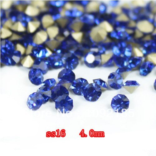 SS16(3.8-4.0mm) Sapphire Color,10gross/lot Pointed Back Chaton Rhinestone for Jewelry Accessory! Free Shipping ss16 3 8 4 0mm aquamarine color 10gross lot pointed back chaton rhinestone for jewelry accessory free shipping