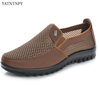 Brief Summer Mesh Shoes Men Slip On Flat Sapatos Hollow Out Mesh Canvas Casual Moccasins Basic
