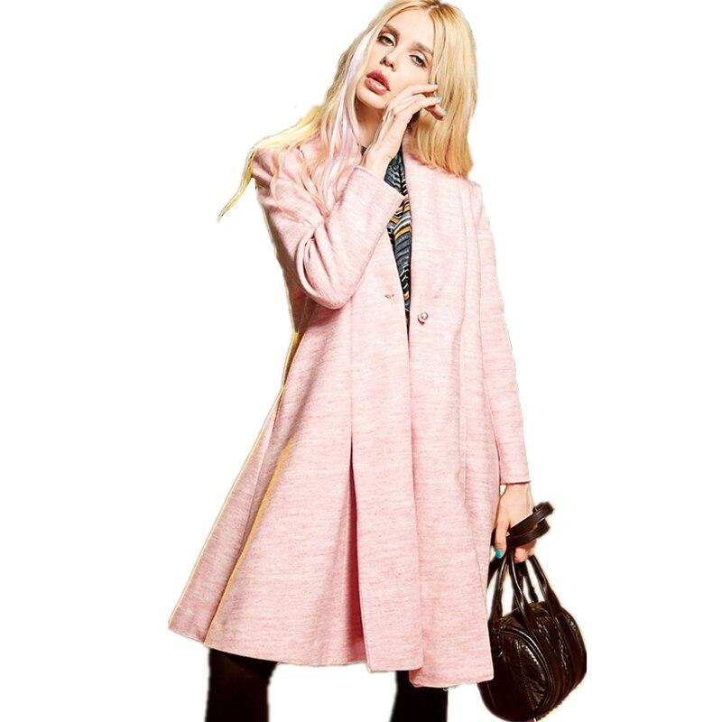 Winter Autumn New Long Cloak Type Design Europen Stgle Women Boutique Elegant Pearl Button High Quality Female Wool Coat LCY91