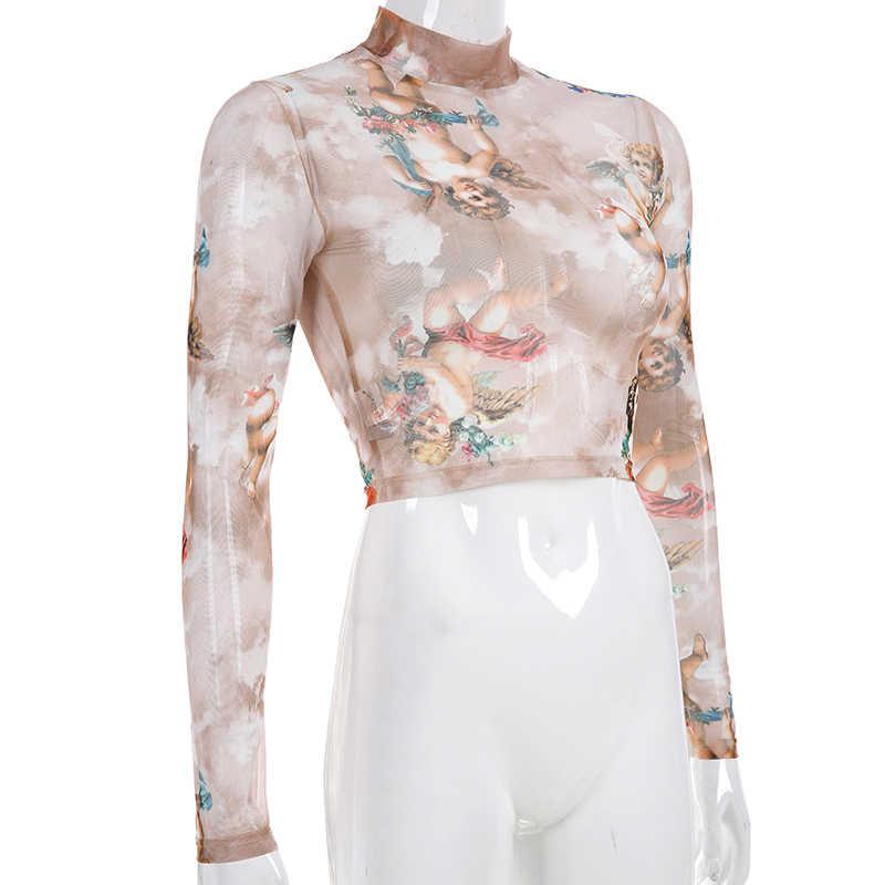 f65a17342 ... Sweetown Summer 2019 Kawaii Mesh Crop Top Tshirt Greek Mythology Angel  Print See Through Top Women ...