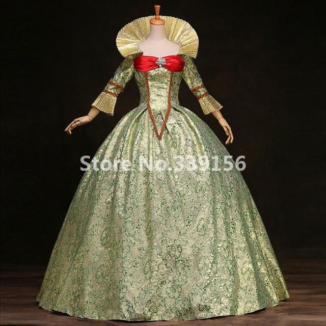 Meilleur Vendeur Femmes Vert Imprimé Marie Antoinette Robe 17e 18e Siècle  Reine Victorienne Robes De Bal f7bd3625dbf