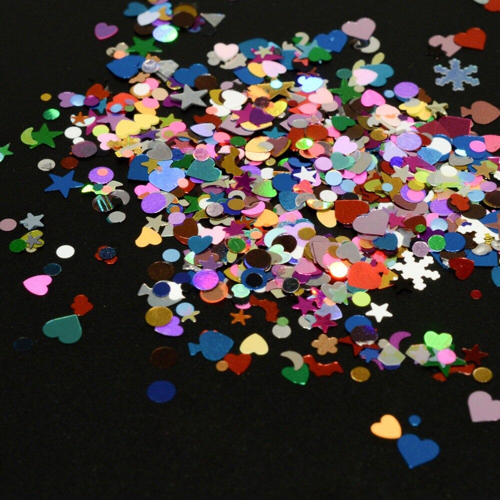 1 stücke Formen Nagel Glitter Flakes Pailletten Hexagon Mischfarbe ...
