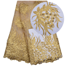 Gold Color Nigerian Lace Fabric Dubai Embroidered French Tulle Lace Latest African Lace Fabric 2018 With Stones And Beaded 1186