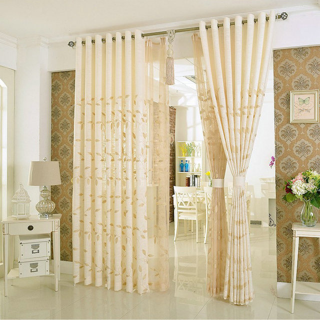 Natürliche Leinen Vorhang Blätter Bestickte Vorhang Luxus Für Wohnzimmer/ Schlafzimmer Einfache Moderne Fenster Behandlung/