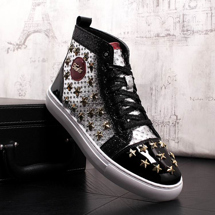 ERRFC Personalized Fashion Men High Top Casual Shoes Luxury Star Rivets Charm Mixed Colors Ankle Boots Man Trending Leisure Shoe 5
