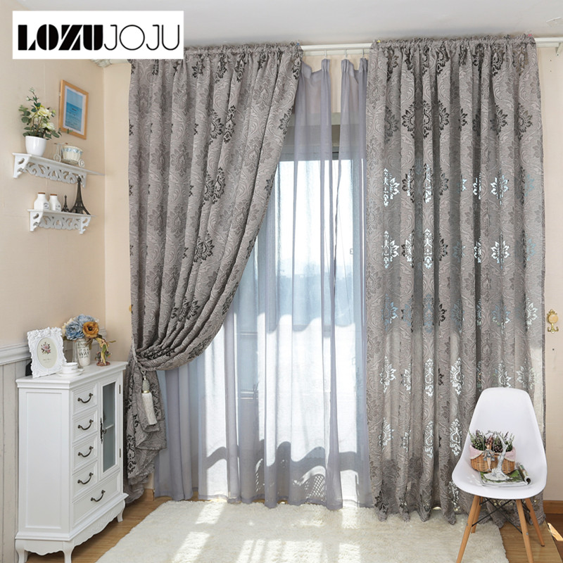 Lozujoju european style luxury jacquard fashion design 3d - European style curtains for living room ...