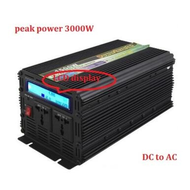 Hig Quality 1500w DC 12V to AC 230V LCD display modified Wave Power Inverter Peak power 3000W