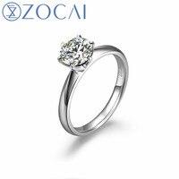 ZOCAI Бесконечность Природный 1.0 КТ ГИА certified Н/SI бриллиантовое обручальное кольцо круглая огранка 18 К белого золота W00206