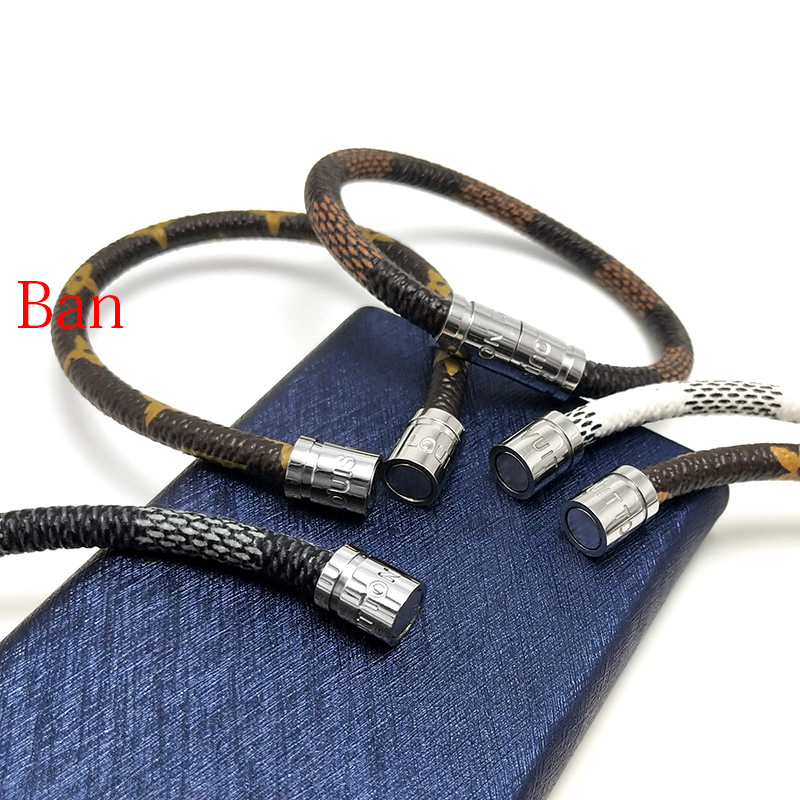 VEROMCA Trendy Leather Bracelet Homme Stainless Steel Men Bracelets Sliver Magnetic Clasp Customized Size Bracelet Women Jewelry (1)