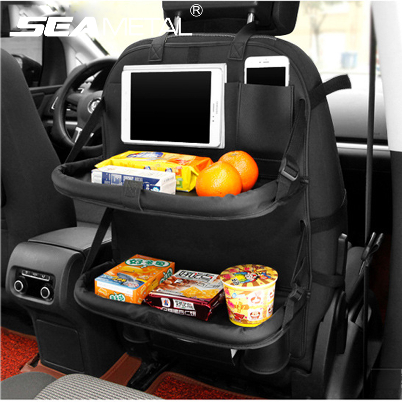 car seat back organizer bag storage travel multi pocket universal pu leather back seat protector. Black Bedroom Furniture Sets. Home Design Ideas
