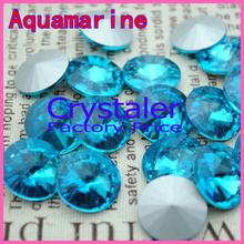 100pcs/lot Aquamarine COLOR 8MM 10MM 12MM 14mm 16mm 18mm 20mm Chinese Top Quality Round Fancy Stone Crystal Rivoli Beads