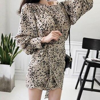 Chiffon Leopard Print Lace Up Women Mini Dress Chic Slim Waist Lantern Sleeve Female Party Dress vestidos mujer Best Women Dresses