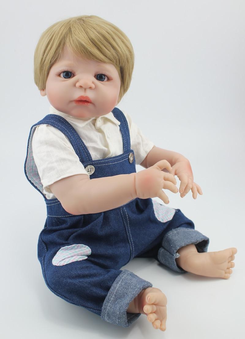 "Здесь продается  22"" Full Silicone Bebe Reborn Boy Dolls 55cm Lifelike Vinyl Newborn Baby Toddler Doll Toy Waterproof Body Blonde Hair  Игрушки и Хобби"