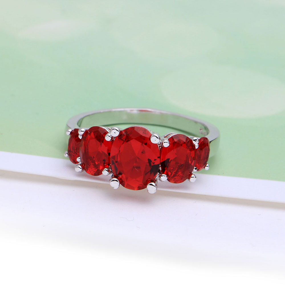 women Wedding luxury Engagement jewelry hot elegant fashion jewellery Eternity red cz promise rings free drop shipping