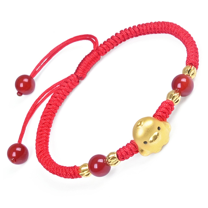 New Pure 999 24k Yellow Gold Best Gift Chook Bead Red Knitted Chain Bracelet 1.4-1.6g
