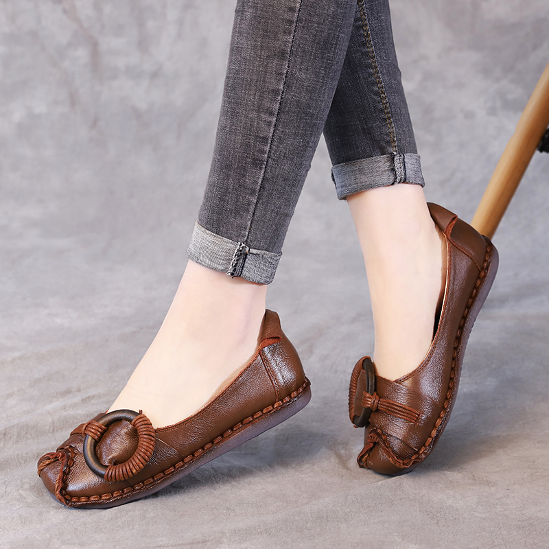 AARDIMI Women Flats Shoes Genuine Leather Handmade Casual Shallow Female Slip On Flat Shoes Woman Retro Female Loafers