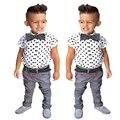 2016 новый мальчик устанавливает детская одежда мальчика 3 шт. комплект по уходу за детьми мальчик горошек рубашки + брюки + галстук-бабочка