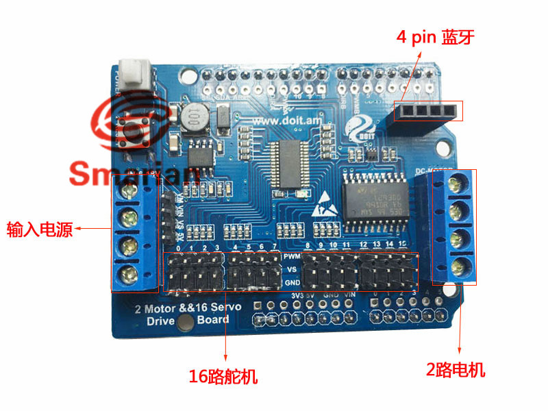 US $9 11 5% OFF Official smarian 2 Way Motor & 16 Way Servo Shield Board  Compatible with Arduino for Mobile Robot Arm Diy RC Toy Kit Electroincs-in