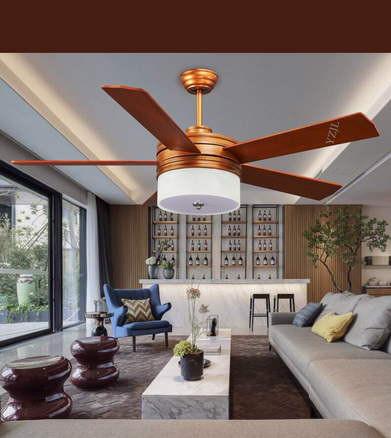 52inch Remote Control Solid Wood Five Leaf Ceiling Fan Lights LED Dining Room