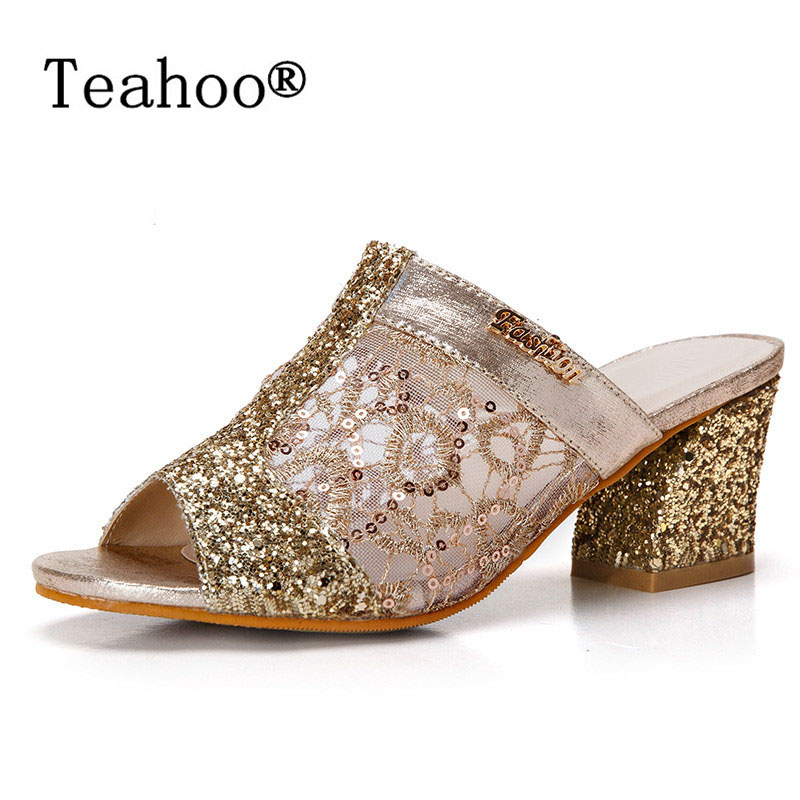 Rhinestone Peep Toe Heels Women Sandals Shoes Sexy Open Toe Wedge Slides Shoes Woman High Heels Sandals 2017 Platform Plus Size ultra thin heels 20cm platform open toe print women s shoes plus size sexy 43 tiangao 42 34