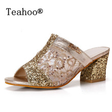 Rhinestone Peep Toe Heels Women Sandals Shoes Sexy Open Toe Wedge Slides  Shoes Woman High Heels 7c4d65bb0e5b