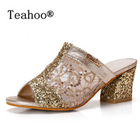 Rhinestone Peep Toe Heels Women Sandals Shoes Sexy Open Toe Wedge Slides Shoes Woman High Heels