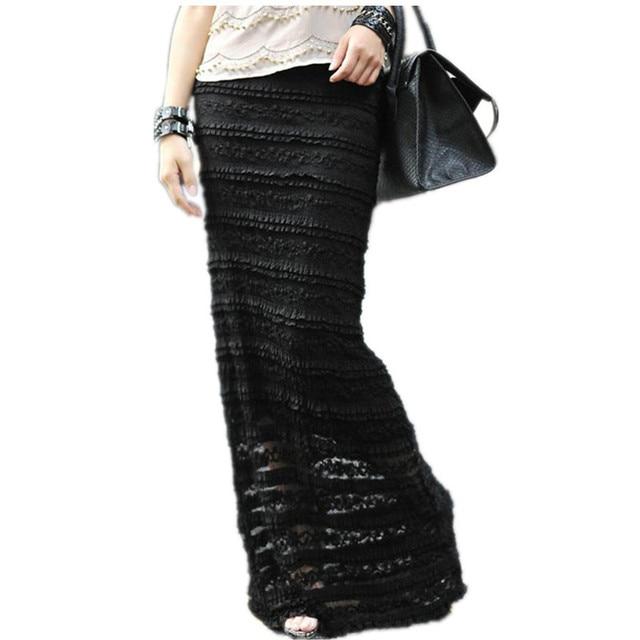 Trasporto Libero 2017 Su Misura S-7XL Pizzo Maxi Pannello Esterno Lungo Per donne di Estate Formale pantaloni Diritti Più Il Formato in Bianco E Nero Sexy gonne