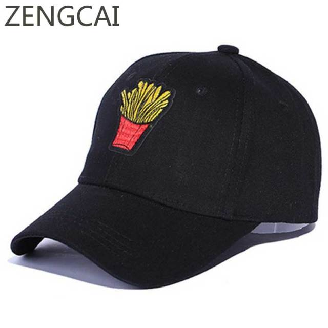 7bea463e77b Funny Baseball Cap French Fries Hamburger Dad Hat Women Embroidery Men Hip  Hop Snapback Caps Summer