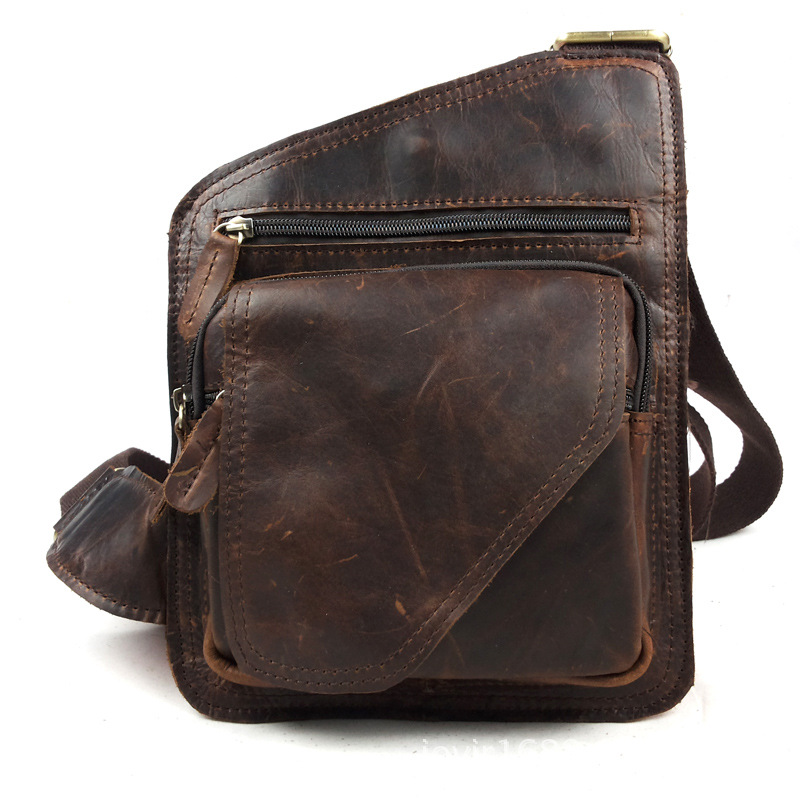 Genuine Leather Chest Bag Men First Layer Cowhide Chest Pack High Grade Travel Small Crossbody Bag Male Messenger Bags Sling Bag 7071lc free shiping 2015 brand genuine leather travel bag first layer of cowhide travel bags for men tote bag