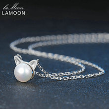 LAMOON Freshwater Pearl Pendant Necklace New Little Cat Ears 8mm 925-Sterling-Silver Fine Jewelry Women Pearl Necklaces Perla