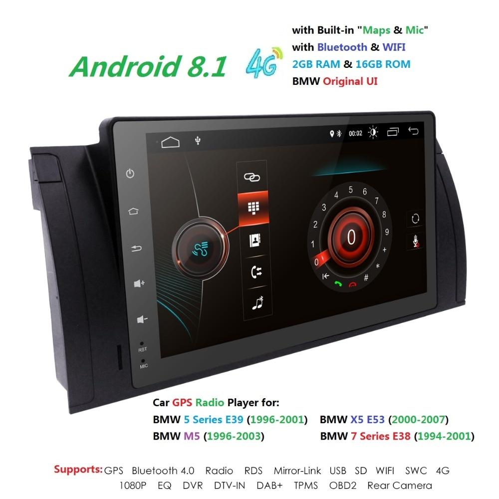 9''Navi Multimedia Android8.1 IPS 1DIN Car GPS Radio For BMW E38 E39 X5 E53 M5 Autoradio 4G 2G+16G WIFI TPMS DVR RDS SWC DVBT BT
