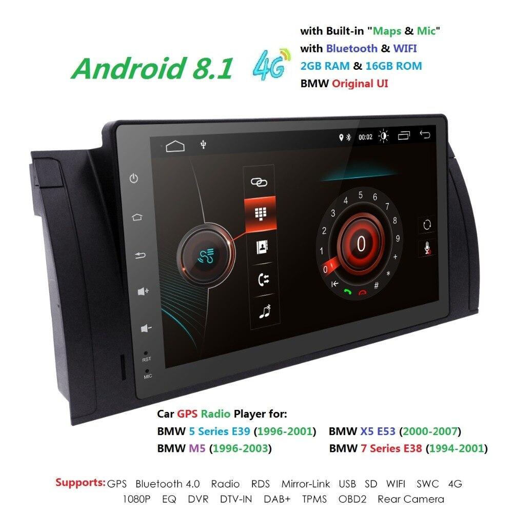 9''Navi multimédia Android8.1 IPS 1DIN Autoradio GPS pour BMW E38 E39 X5 E53 M5 Autoradio 4G 2G + 16G WIFI TPMS DVR RDS SWC DVBT BT