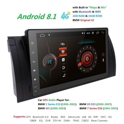 9 navi android8 1 ips 1din multimidia radio gps do carro para bmw e38 e39