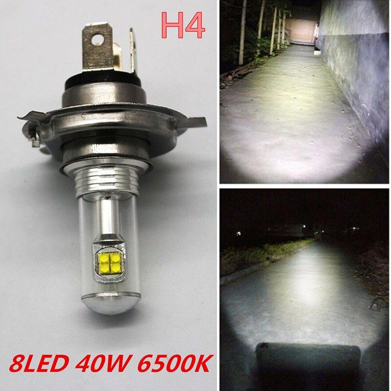 1 шт. H4 40 Вт 6500 К удара 8LED супер яркий мотоциклов фара Hi/lo пучка Лампа Белый Цвет свет DC 12 В