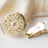 Solid 14ct Yellow Gold Clasp Filigree Round Box Safety Tab Buckle Au585 Oro Jewelry Findings for Pearl Necklace