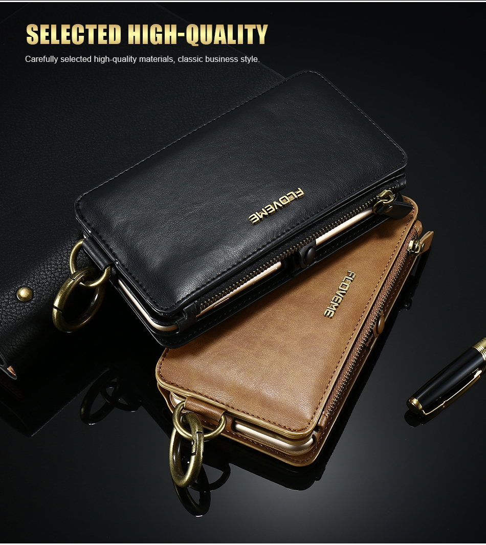 FLOVEME Hybrid Detachable Leather Case For Samsung Galaxy S7 Edge 18 Card Slot Metal Zipper Cash Storage Wallet Pouch Cover Bag (2)