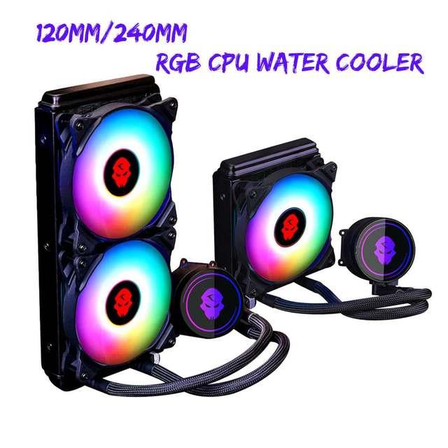 120mm/240mm RGB LED CPU Water Cooler Cooling 4Pin PWM Integrated CPU Cooler Fan Cooling Radiator For Inter LGA115x 2011 1366 AMD