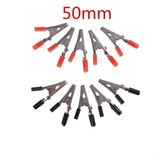 Pince Crocodile en métal | 10 pièces, rouge noir, 28/32/35/48/50/55mm, pince électrique pour tester la sonde, mètre