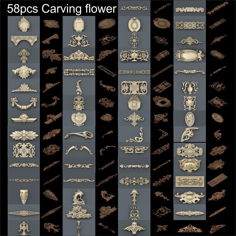 58pcs Carving flower on the door 3d model STL relief for cnc STL format 3d model for cnc stl relief artcam vectric aspire general 3d model stl relief for cnc stl format warrior 3d model for cnc stl relief artcam vectric aspire