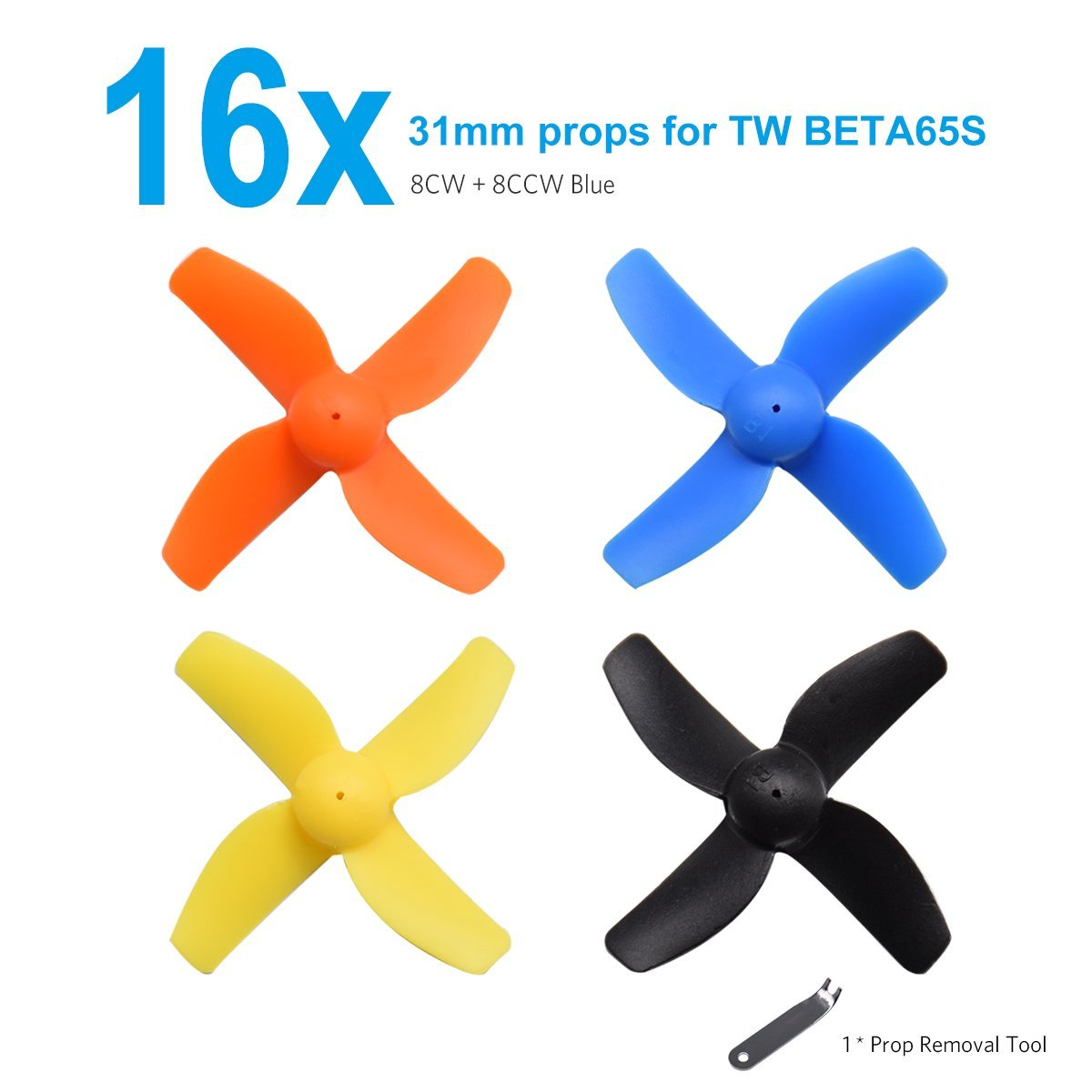 BETAFPV 16pcs 31mm 4-blade Props Propeller with Prop Removal Tool for 65mm Frame Tiny Whoop Quad