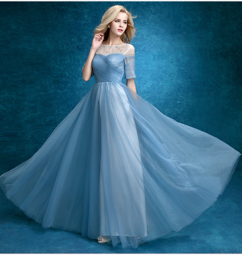 Aliexpress.com : Buy Hot Sale Elegant Light Blue Prom Dresses with ...