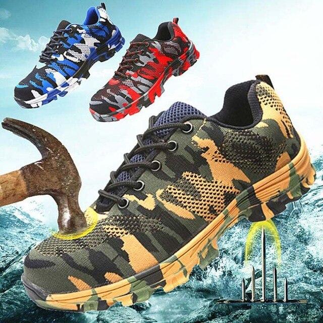 Inşaat erkekler açık artı boyutu çelik burunlu iş ayakkabıları ayakkabı erkekler kamuflaj delinme geçirmez güvenlik ayakkabıları nefes