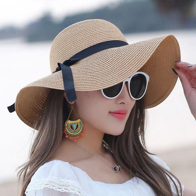 Summer Hats Women s Foldable Wide Large Brim Beach Sun Hat Straw Beach  Breathable Cap For Ladies Elegant Hats Girl chapeau femme 7a2b7cef360