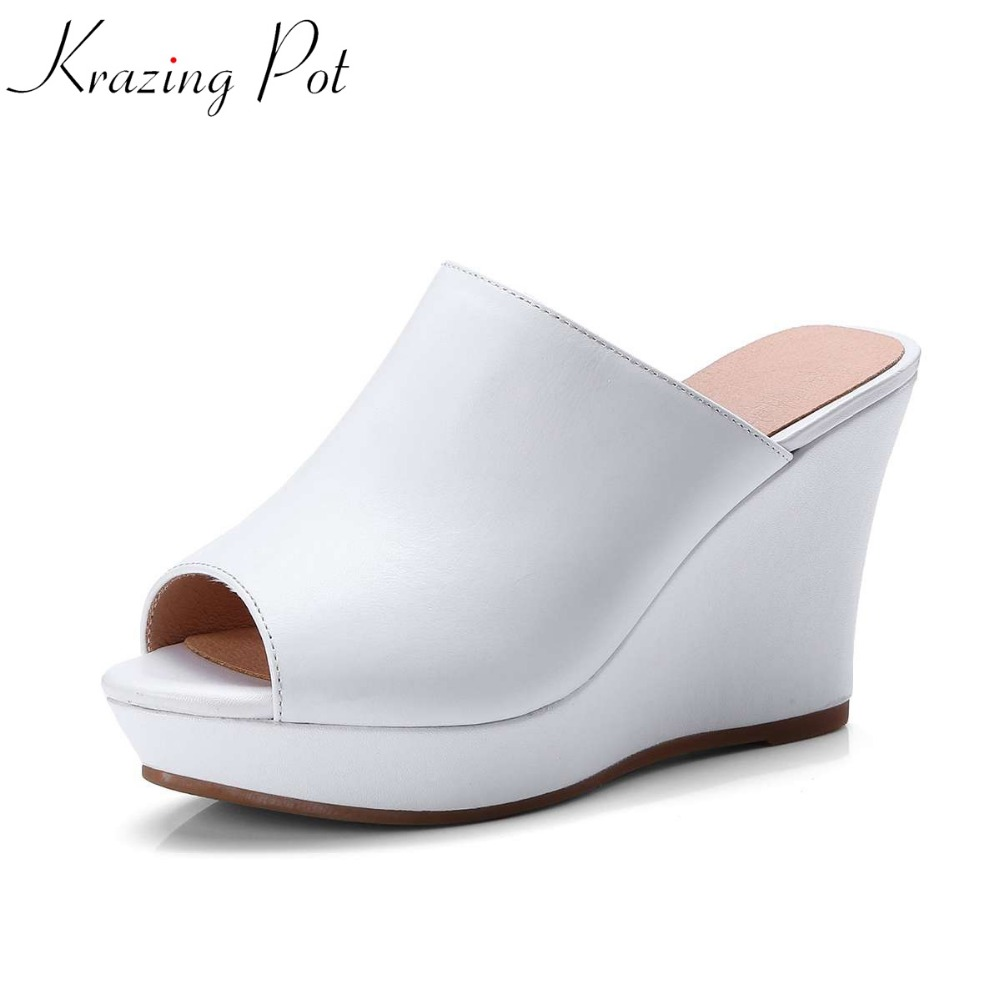 Krazing Pot new cow leather fashion gladiator summer shoes platform solid wedges European platform concise big size sandals L31 phyanic 2017 gladiator sandals gold silver shoes woman summer platform wedges glitters creepers casual women shoes phy3323