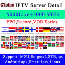 Gtmedia Android Smart TV Box with 6000+ Channel Europe Arabic French Belgium IPTV subscription for M3U APK France Belgian Arabic