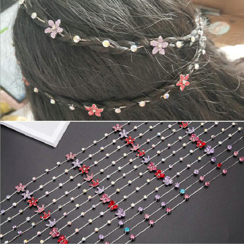 Image 4 - 2019 New Girl Hair Extension Rhinestone Tool Glitter braid hairpin Bridal Wedding  Hair Accessories-in Braiders from Beauty & Health