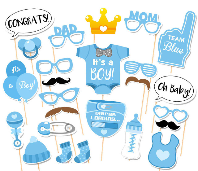 25pcs Photo Booth Props Baby Shower Decoration Baby Boy Christening