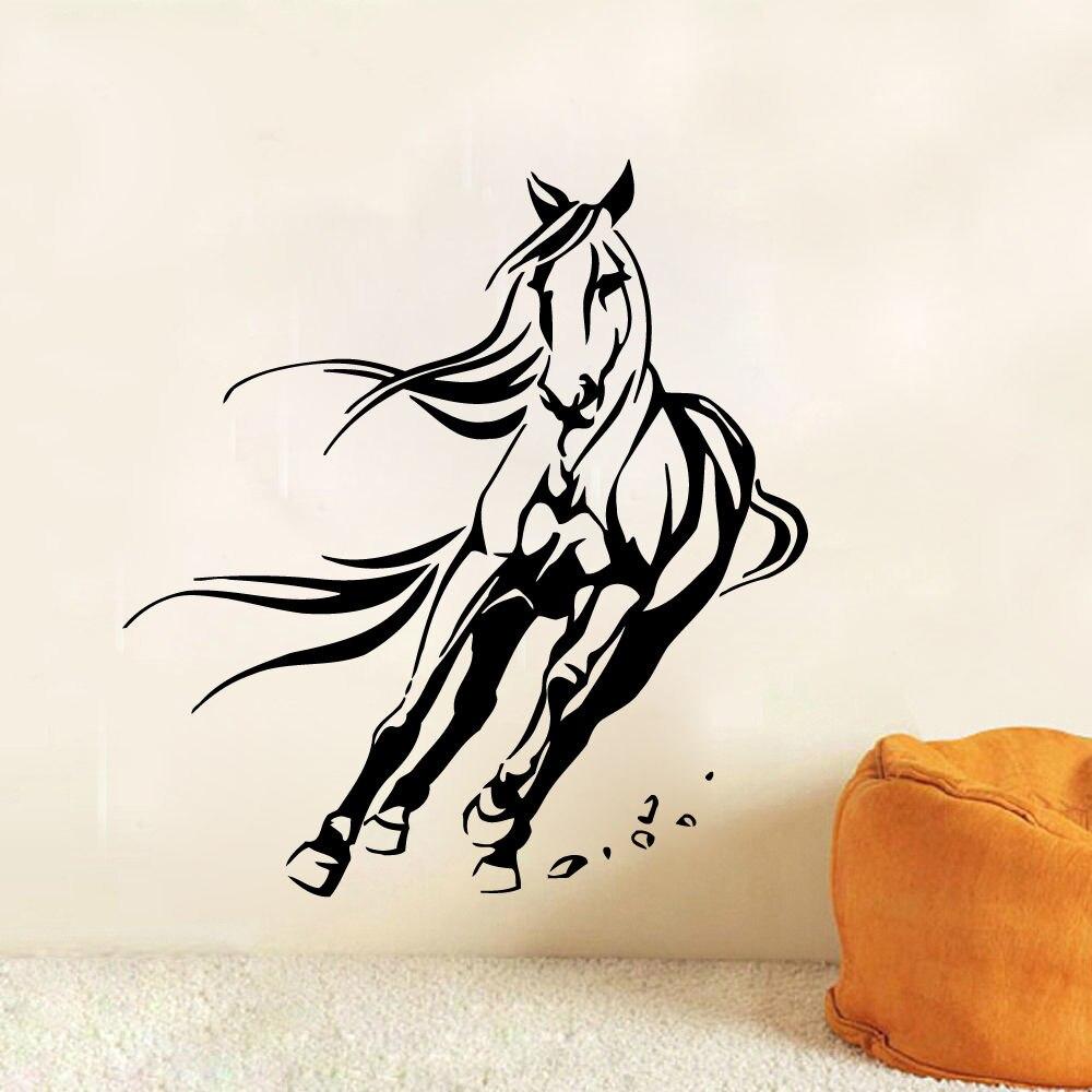 Decalques De Parede De Animais Cavalo Mustang Adesivo De Vinil  -> Fts De Cavalo Rm Adesivo Pra Quarto